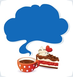 Cup and cake with cloud vector