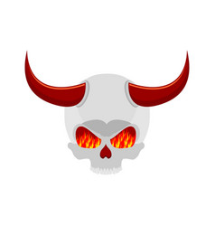 demon skull with horns eyes of flame satan vector image