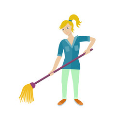 female worker of cleaning company with broom vector image vector image