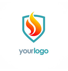 fire shield logo vector image vector image