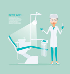 flat of woman dentist in vector image
