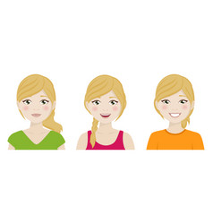 Foreground cute woman with different expressions vector