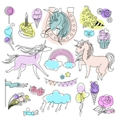 Green violet and pink unicorns with sweets on a vector
