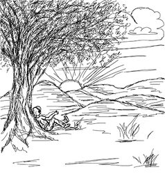 hand drawn of landscape with man resting under the vector image