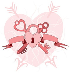 heart lock with keys vector image vector image