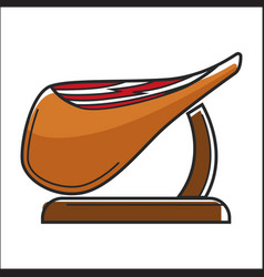 Huge fat piece of jamon on wooden stand vector