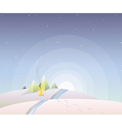 Polygonal mountain background at night vector image