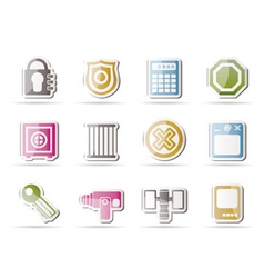 security and business icons vector image vector image