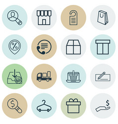Set of 16 e-commerce icons includes handbag vector