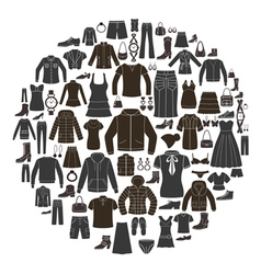 Set of women s and mens clothing icons vector