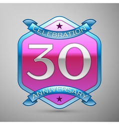 Thirty years anniversary celebration silver logo vector