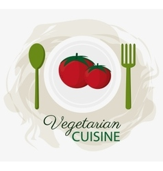 Tomatoes vegetarian cuisine organic food plate and vector