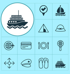 Travel icons set collection of eating direction vector