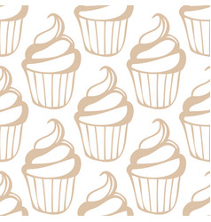 White cream cupcake seamless light beige pattern vector