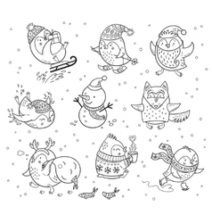 Winter season themed doodle set with penguins vector image vector image