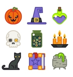 Witch magic halloween icons set isolated flat vector image