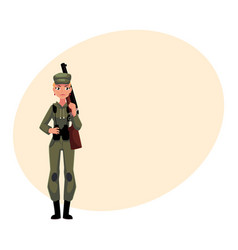 Woman hunter in khaki camouflage military style vector