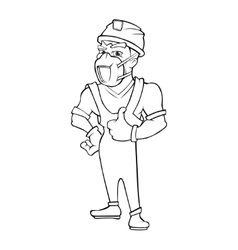 Worker in a helmet and respirator isolate on white vector image