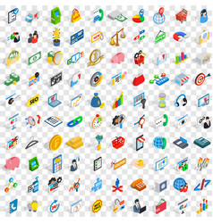 100 fund icons set isometric 3d style vector