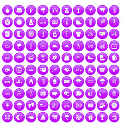 100 woman sport icons set purple vector