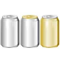 Three aluminum cans without label vector