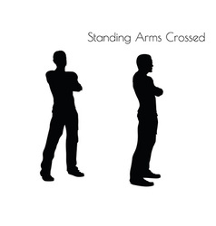 Man in standing arms crossed pose on white vector
