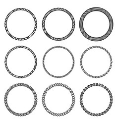Set of round rope frame collection vector