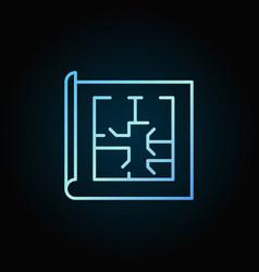 Floor plan blue icon vector