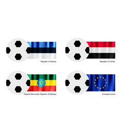 Soccer ball with estonia yemen ethiopia falg vector