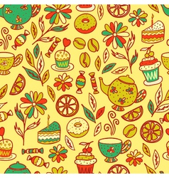 Tea time seamless pattern set of elements vector