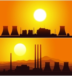 Silhouettes of a nuclear power plants at sunset vector