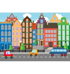 Seamless cartooned city life graphic vector