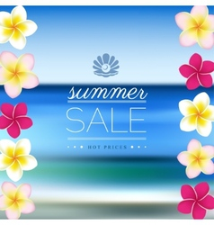 Summer sale blurred sea background with flowers vector
