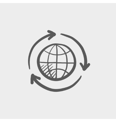 Globe with arrow sketch icon vector