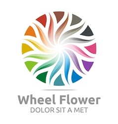 Abstract logo wheel flower interest colorful icon vector