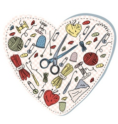 sewing heart pattern vector image