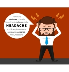 Lucky businessman has a headache vector