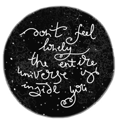 Unique hand drawn text on the universe backgroun vector