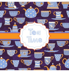 Background with different teacups and teapots vector