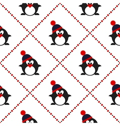 Pattern with penguins with winter hats vector