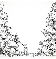 Fairytale decorative graphics mushrooms and vector