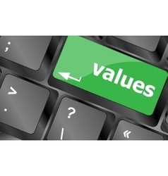 Values sign button on keyboard with soft focus vector