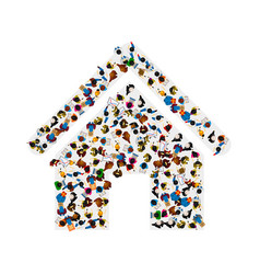 A group of people in a shape of house ico vector