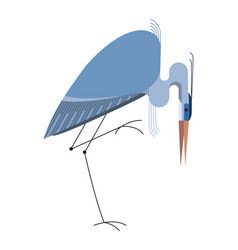 blue heron on white background vector image