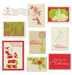 Christmas vintage stamp collection vector