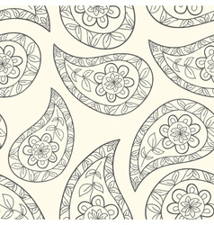 Contour paisley seamless pattern vector image