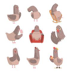 Cute cartoon bird set funny bird character with vector