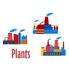 Flat factories and plants icons vector