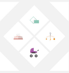 Flat icon child set of tissue napkin stroller vector