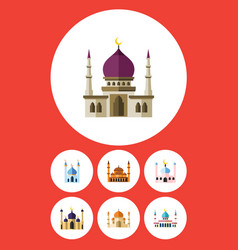 flat icon mosque set of religion structure vector image vector image